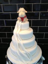 4 Tier with a sheep topper