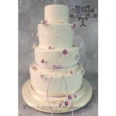 4 tier pipped lace with small blossoms