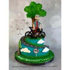 Cyclist themed tired cake