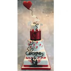 Hearts and love wedding cake...