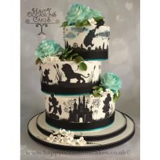 Off Set themed wedding cake
