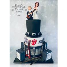 Rock themed wedding cake