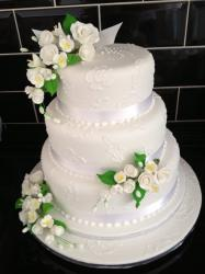Three tier with clusters of flowers