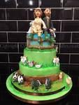 Thtree tier farm yard cake