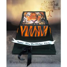 Tiger theme 2 tier cake